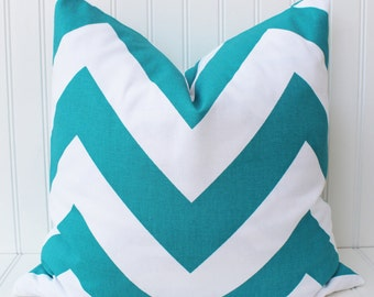 Turquoise Pillow Cover, Throw Pillow, Decorative Pillow, Accent Pillow, Chevron Pillow, Turquoise Cushion Cover
