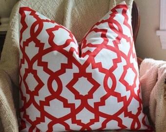 Orange Pillow, Throw Pillow, Decorative Pillow, Accent Pillow, Tangerine Cushions, 18 inch Trellis Pillow