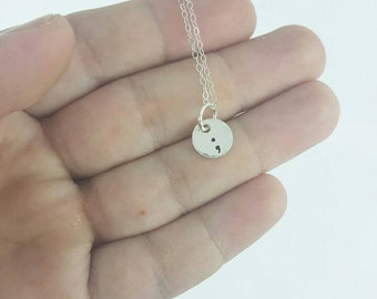 Tiny semi colon hand stamped sterling silver necklace, depression jewelry by miss ashley jewelry