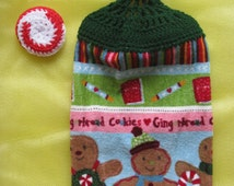 Christmas Dish Scrubber and Gingerbread Men Kitchen Towel