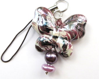 CHARMING BUTTERFLY- Beaded Zipper Pull, Cell Phone, or Necklace Pendant- Pearls, Crystals, and Butterfly Bead
