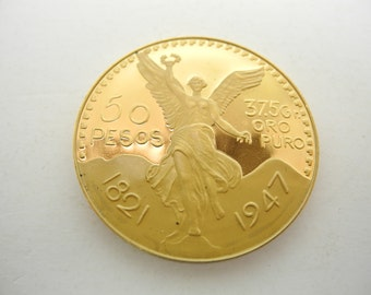 Mexican 50 Pesos Gold 1821 1947 Gold Plated Coin Copy