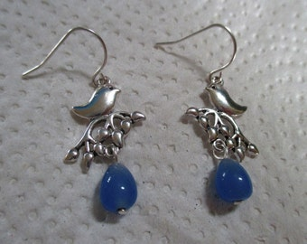Silver Bird Blue Silver Earrings