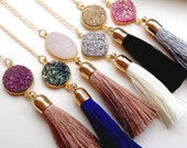 Gold Druzy Tassel Necklace - Gold Druzy Tassel Jewelry - Gold Drusy Necklace - Statement Necklace - Long Drusy Jewelry - Christmas Gift