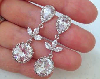 Silver Crystal Stud Earrings CZ Teardrop Bridal Jewelry - Clear Bridal Earrings - Bridal Accessories Wedding Jewelry Bridesmaid Gift