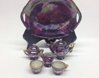 Tea For Two Miniature tea set purple hand painted signed gold trim really unique Joanna