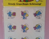 Vintage Smurfs Scratch & Sniff Stickers, New and Unopened Package, 80's Nostalgia, Ganz Bros, Smurfy Grape