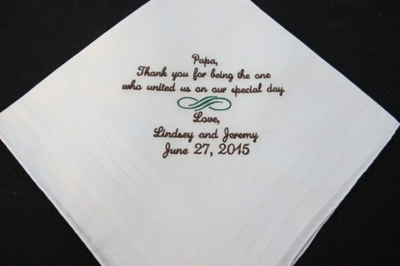 Embroidered Wedding Handkerchief for Officiant