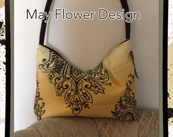 Gold and Black Embroidered Shoulder Bag / Handmade Bag