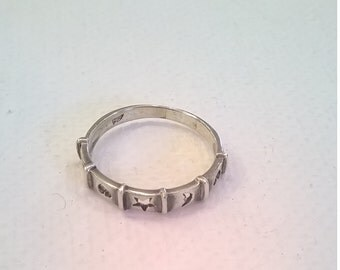 Sterling Silver Hearts, Stars, and Moon Ring - Size 7 Band - Vintage Finger Ring