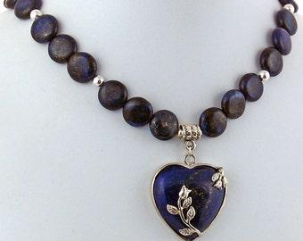 Lapis Lazuli Rose Heart Natural Stone Pendant Necklace