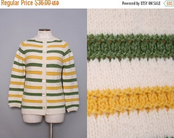SALE Vintage 60s Cardigan Sweater / 1960s Yellow Green Striped Sweater / Small Medium