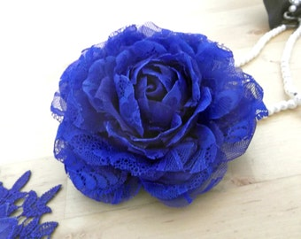 Royal Blue Silk Organza and Lace Bridal Hair Flower