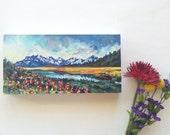 6x12 Original Mountain landscape oil painting