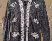 70s metallic silver and black shirt with white bead decorations