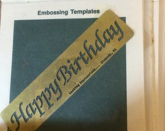 Lasting Impressions  Brass  Happy Birthday   Dry or Wet Emboss  Stencil LAST ONE