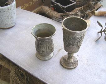Vintage Sabbath Kiddush Glasses Medieval style Metal Wine Goblets Mid Century Collectible Israel Silverplate Judaica