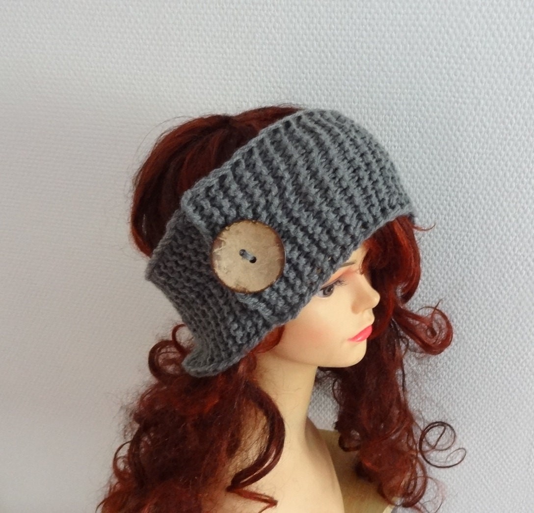 Handmade Knit Cable Headband with button Knitted by Ifonka ...