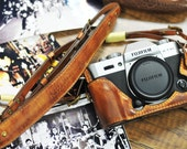 Cow leather case for Fujifilm X-T20 xt20 X-T10/ xt10 x-t10 include leather vintage half case and leather strap