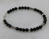 Black tourmaline bracelet and sterling bali accents for men