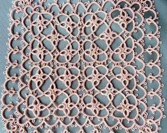 Handmade tatting square doily light peach - Gift for her - tatting shuttle - Home decor - handmade lace