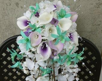 Calla lily orchid cascading bouquet, bright mint, lavender, purple bridal bouquet, bouquet with pearls