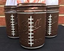 Football Birthday Decor, Hand painted Football Mason Jars, Utensil Holder, Boys Birthday, Super Bowl Party, Football Party Decor, Mason Jars