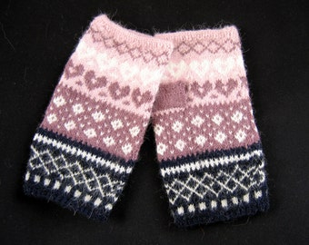 Hand knitted fingerless gloves, hand knitted arm warmers. Light pink, amethyst, white, black. Patterned gloves. Mittens. Christmas gift