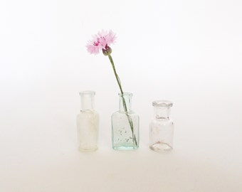 ANTIQUE GLASS  BOTTLES with bubbles and imperfections, Home Decor, Pharmacy Bottles