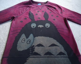 Totoro holding a little friend with soot sprites, man's medium sweatshirt, discharged, screen printed and dyed, fuchsia and turquoise