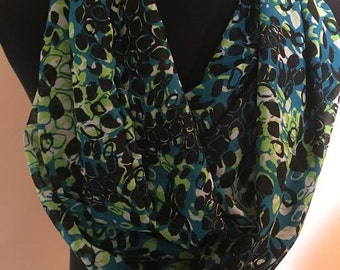 New Speckled Neon Lightweight Fabric Infinity Scarf, Neon Green, Teal, Black and Off White