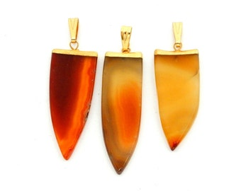Natural Agate Arrowhead Pendant with Electroplated 24k Gold Cap and Bail (S85B3-02)