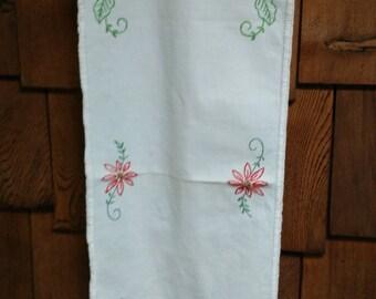 Vintage Hand Embroidered Oblong table runner