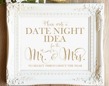 Date Night Idea Sign   8 x 10 Sign   DIY Printable   Bella   Antique Gold   PDF and JPG Files   Instant Download