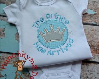 The prince has arrived - Custom Birth Announcement - Birthday Onesie - Baby Boy Onesie - Shower gift