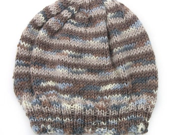 Boys Unisex Knitted Brown Blue Marle Winter Wool Beanie. Size 6 years through to Teens . Handmade  . Gift Idea . Made in Australia