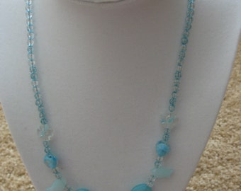"""20""""  beaded necklace crystal in blue colors"""