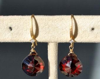 SALE Garnet Earrings - January Birthstone Earrings - Garnet Jewelry