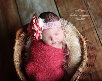 Newborn Stretch wrap - CORAL Stretch Wrap / Scarf / Blanket - Newborn Photo Prop - knitbysarah - stitches by sarah