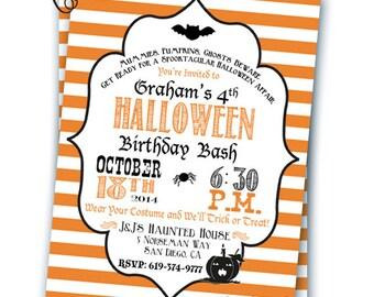 Halloween Invitation Halloween Birthday Invitation Costume Party Halloween Party Customizable 5x7 Invitation Pumpkin Party Bat Witch