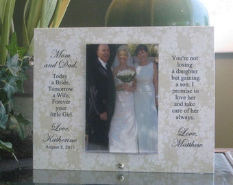 Parents Gift, Parents Frame, Parents of Bride Frame, Parents of Bride Gift, Parents Photo Frame, Parents Picture Frame, 4 x 6 photo