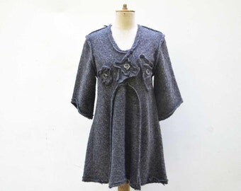 Soft cozy Wool tunic, silver thread by ZOJKA S size unique fashion design natural eco wearable art, organic art to wear artsy minimal 327