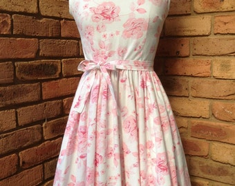 Vintage inspired tea dress pink rose READY to SHIP Size 10 AUD