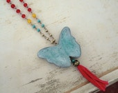 Long boho beaded necklace coral red turquoise blue air dry clay butterfly pendant insect  yellow bohemian jewelry tassel long brass chain