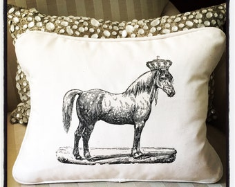 "shabby chic, vintage horse graphic with cream welting 12"" x 16"" pillow sham."