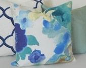 Blue, aqua, turquoise watercolor floral decorative pillow cover