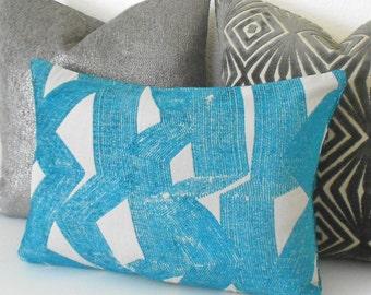 Modern dark turquoise teal chenille brushstroke geometric decorative pillow cover