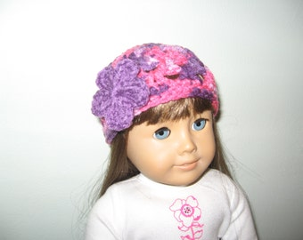 Fitted hat - PInks and Purples with Purple flower - for American Girl Dolls and other 18 Inch dolls