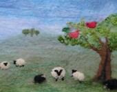 Felting Kit to make sheep landscape, wet felt and needle felt with online tutorial