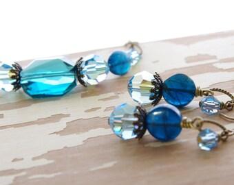 Blue Bead Jewelry Set Bracelet Earrings Apatite Swarovski Crystal Bronze Brass Rustic Jewelry Ocean Blue Bridesmaids Gifts Autumn Wedding